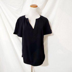 Trina Turk Black Blouse Top Short Sleeve S Resort